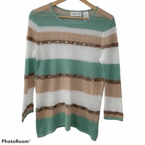 Alfred Dunner Horizontal Stripe Knitted Beaded Top